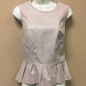Bebe Beige Leather Peplum Ruffle Tank Shirt Medium